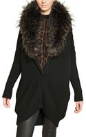 Roberto Cavalli Raccoon Fur Wool Silk Knit Cardigan - Lyst