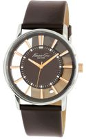 Kenneth Cole Brown Leather Strap Watch  - Lyst