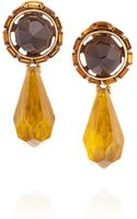 Oscar de la Renta 24karat Goldplated Resin and Crystal Clip Earrings - Lyst