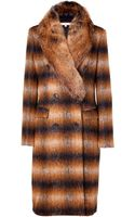 Michael Kors Chocolate Multi Mohair Blend Coat with Removable Fox Collar - Lyst