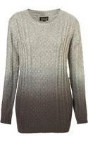 Topshop Knitted Dip Dye Cable Jumper - Lyst