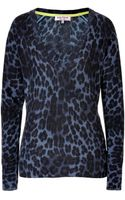 Juicy Couture Echo Blue Leopard Vneck Woolcashmere Pullover - Lyst