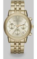 Michael Kors Ritz Round Goldtone Stainless Steel Chronograph Bracelet Watch - Lyst