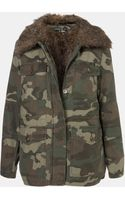 Topshop Faux Fur Lined Camo Utility Jacket - Lyst