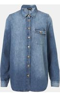 Topshop Vintage Oversized Denim Shirt - Lyst