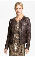 Michael by Michael Kors Zip Trim Leather Jacket - Lyst