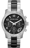Michael Kors Black Ceramic and Silver Color Stainless Steel Runway Chronograph Glitz Watch - Lyst