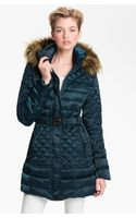 Guess Faux Fur Trim Quilted Satin Jacket - Lyst