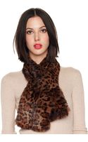 Michael by Michael Kors Leopardprint Rabbit Scarf - Lyst