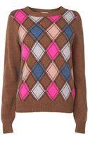 Jaeger Wool Blend Argyle Sweater - Lyst