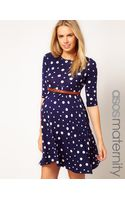 Asos Maternity Spot Skater Dress with Belt - Lyst