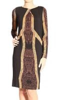 Etro Long Sleeve Round Neck Jersey Print Dress - Lyst