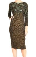 Roberto Cavalli 34 Sleeve Wool Jerset Snake Jaguar Print Dress - Lyst