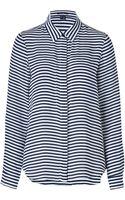 Theory Whitenavy Striped Silk Durlia Shirt - Lyst