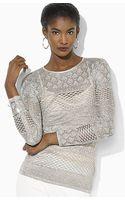 Ralph Lauren Lauren Metallic Cutaway Sweater - Lyst