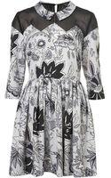 Topshop Zig Zag Printed Skater Dress - Lyst