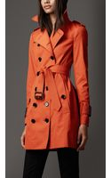 Burberry Midlength Cotton Blend Trench Coat - Lyst