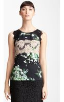 Dolce & Gabbana Lace Lily Print Stretch Cady Shell - Lyst