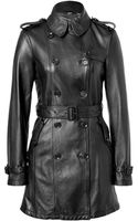Burberry Brit Black Soft Leather Iverdown Trench Coat - Lyst