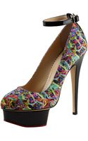 Charlotte Olympia Dolores Printed Anklestrap Pump - Lyst