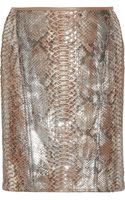 Reed Krakoff Metallic Coated Python Mini Skirt - Lyst