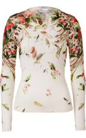 Valentino Red Cream Printed Fleece Wool Pullover - Lyst