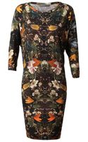 Alexander McQueen Floral Printed Wool Dress - Lyst