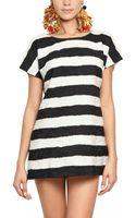 Dolce & Gabbana Striped Cotton and Silk Brocade Dress - Lyst
