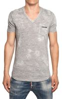 DSquared2 Distressed Painted Cotton Jersey T-Shirt - Lyst
