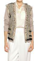 Lanvin Cotton Tweed Linen Knit Cardigan - Lyst