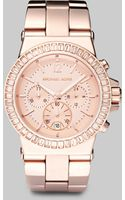 Michael Kors Rose Goldtone Stainless Steel Crystal Chronograph Watch - Lyst