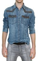 Pierre Balmain Studded Washed Cotton Denim Shirt - Lyst