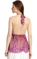 Roberto Cavalli Silk Floral Halter Top - Lyst