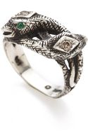 Pamela Love Snake Ring with Diamonds Emeralds - Lyst