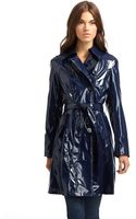 Via Spiga Faux Patent Leather Trench Coat - Lyst