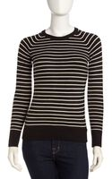 French connection Babysoft Striped Crewneck Sweater - Lyst
