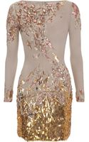 Matthew Williamson Abstract Sequin Georgette Embroidered Long Sleeve Dress - Lyst