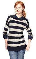 Gap Moss Stitch Striped Boatneck Sweater - Lyst