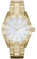 DKNY Ladies Goldtone Stainless Steel Watch with Crystals - Lyst