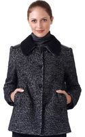 Adrianna Papell Knit Tweed Coat - Lyst
