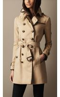 Burberry Brit Midlength Cotton Gabardine Leather Detail Trench Coat - Lyst