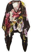 Roberto Cavalli Floral Print Silk Chiffon Kaftan Style Top - Lyst