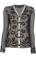Bottega Veneta Striped Floral Print Cardigan - Lyst