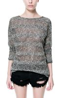 Zara Flecked Striped Sweater - Lyst