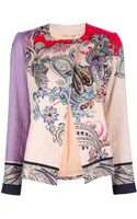 Etro Ribbed Floral Print Jacket - Lyst