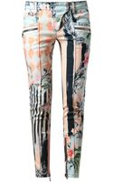 Balmain Baroque Floral Printed Denim Jeans - Lyst