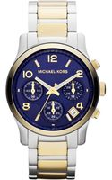 Michael Kors Midsize Golden-silver Color Stainless Steel Runway Chronograph Watch - Lyst