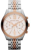 Michael Kors Midsize Silver Color-rose Golden Stainless Steel Brookton Watch - Lyst