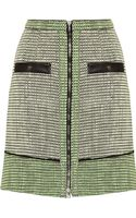 Proenza Schouler Leather trimmed Basket Weave Tweed Skirt - Lyst