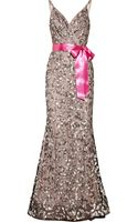 Oscar de la Renta Sequined Tulle and Silkchiffon Gown - Lyst